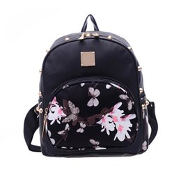 Wholesale Girl Books - 2017 New Floral Printing Leather Women Backpack Mochila Girls School Bag Travel Cute Satchel Ladies Shoulder Book Bags Rucksack