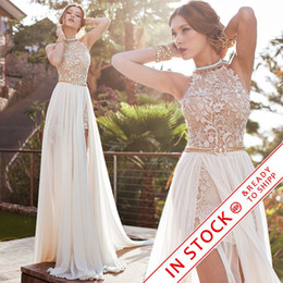 Wholesale Backless Slit Halter - 2017 Julie Vino lace wedding dresses A line chiffon summer beach high waist side slit lace halter backless hi lo bridal gowns BO5557