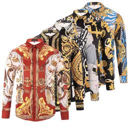 Wholesale Mens Slim Fit Silk Shirts - Spring Autumn Winter Social long sleeve 3D Floral printed dress shirt for men animal print slim fit mens casual shirts cotton Medusa shirts