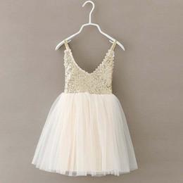 Wholesale Tulle Wholesalers - Fashion Girl Dress Sequin Dress Children Clothes Kids Clothing 2015 Summer Dresses Girl Lace Dress Princess Dresses Ruffle Tulle Dress C9602