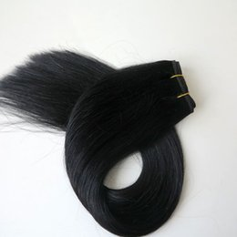 jet black human hair weft Promo Codes - 100% human hair wefts brazilian hair bundles straight hair weave 100g 20inch 1# Jet Black no tangle indian hair Extensions