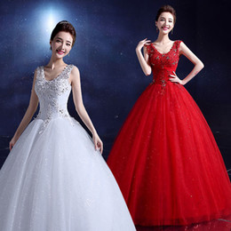 Wholesale Cheap Sequin Dresses China - Cheap China 2015 Korean Style Wedding Dress Cap-Shoulder Sweet Red Wedding Dress Spring Autumn Bride Code Thin Shoulders Gowns Floor-length