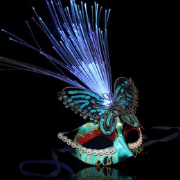 Wholesale Halloween Mask Luminous - Princess masquerade plumed mask female luminous fox butterfly feather LED lighted optical fiber MASK Venice party mask half face