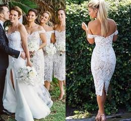 Wholesale nude color lace wedding dress - 2018 Elegant Lace Short Bridesmaid Dresses Off Shoulder Sheath Knee Length Backless Ivory Nude Wedding Guest Dresses Short Bridal Dresses