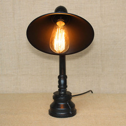 Wholesale Lamps Edison Bulb Table - Water Pipe Table Lamp with Black Lampshade Retro Edison Bulb Water Pipe Table Lamps Wrought Iron Craft Table Lamp for Bedroom Study