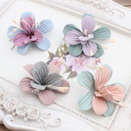 Wholesale Suede Headbands - New Design 50pcs  Lot Colorful Suede Cartoon Lilies Flowers Shape Handmade Microfiber Floral Fashion Headband Solid Headwear