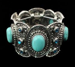Étnica vintage pulseira de prata on-line-Moda Vintage Prata Carving Flor Turquesa Gem Stone Étnica Boho Declaração Elastic Pulseira