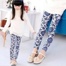 Новый 2015 Весна девушки карандаш брюки девочка леггинсы дети цветочные печати брюки Детские леггинсы горячие TZ014 от