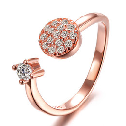 Wholesale 1ct Diamond Silver Ring - Newest silver ring full crytal rhinestone 1CT diamond 18K rose gold platinum plated sterling wedding rings women