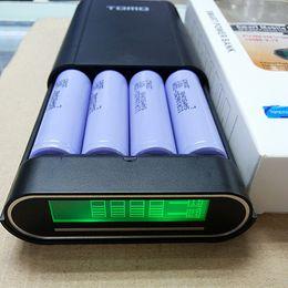 Tomo do banco de energia on-line-Carregador de bateria móvel do entalhe 4 do LCD 18650 das caixas do poder do TOMO e banco móvel do poder para o telemóvel