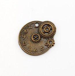 Wholesale Mechanical Jewelry - Hot ! 100 Pcs Antique Bronze Tone Vintage Alloy Mechanical Gear Clock Pendant Charm 22x20mm DIY Jewelry