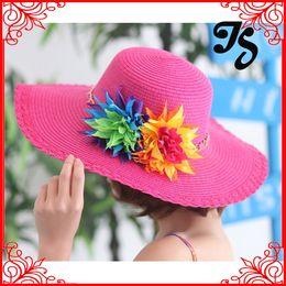 Wholesale Hawaii Flowers Free Shipping - Wholesale-Free Shipping Newly Hawaii hat with flower for Women Wide Large Brim Floppy Beach Bohemian Summer Hat