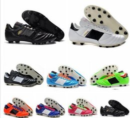 Wholesale Fabric World - Mens Copa Mundial Leather FG Soccer Shoes Discount Soccer Cleats 2015 World Cup Football Boots Size 39-46 Black White Orange botines futbol