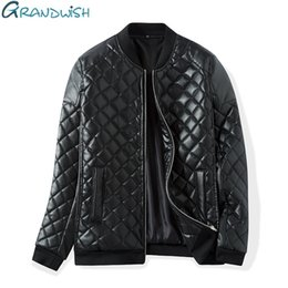 Wholesale Thick Quilts - Wholesale- Grandwish Winter Warm Thick Leather Jacket Men Stand Collar Padded PU Leather Jacket for Men Men's Jacket Quilt Jacket,DA307