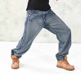 Wholesale Mens Trouser Pocket Jeans - Man Denim Loose Jeans Fashion Classic Hip Hop Style Skateboard Pants HipHop Rap Jeans Mens Baggy Trousers Plus Size Bottoms Size 30-46 #028