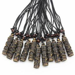 totem pendant Promo Codes - Wholesale 12pcs COOL Simulation Bone Carving Totem Dragon Pendant Wood Beads Amulet Pendant Necklace Lucky Gift MN112