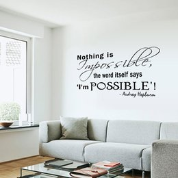 Wholesale Vinyl Tile Stickers - Audrey Hepburn Wall Quote Decal Sticker Nothing is impossible the word itself says I'm possible English Proverb Wall Applique Decor Poster