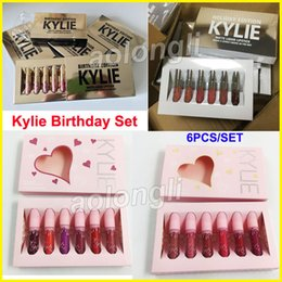 Wholesale Velvet Colors - Kylie Jenner lipstick Birthday & Holiday lip gloss Cosmetics Matte lipsticks Velvet Lipgloss Kylie birthday Limited Edition Lip Kit 6 Colors