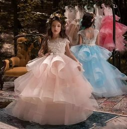 Wholesale Designer Dresses Kids Girls - 2018 Designer Ball Gown Flower Girl Dresses Jewel Floor Length Tiered Kids Formal Dresses With Lace Applique For Wedding Party Pageant Gowns