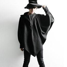 Wholesale Cape Overcoat - Wholesale- Autumn winter men personality hooded cloak wool trench coat nightclub DJ stage costume men punk rock overcoat swag clothing cape