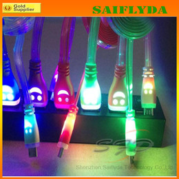 Wholesale Led Usb Smile Charger Cord - LED Visible Micro USB Charger Cable for Samsung Galaxy S5 Universal Data Smile Light Up Micro USB 3.0 1M Flat Cords for Samsung Note3 N9000