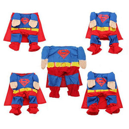 Wholesale Cool Winter Coat For Dog - 2016 Cool Pet Dog Superman Jumpsuit Suit Set Puppy One-piece Apparel Clothes Costumes For Free Shipping