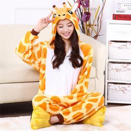 Wholesale Womens Animal Halloween Costumes - onsie Cartoon adult giraffe pajamas animal onesies flannel animal pajamas one piece cosplay womens adult giraffe onesie mujer