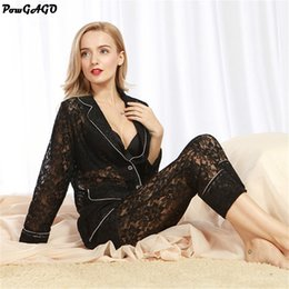 Wholesale Two Piece Lace Lingerie - Wholesale- 2017 New Sexy Women Sleepwear Lace Western-Style Clothes Underwear Two-Pieces Hollow Lingerie Sexy Pajama Set