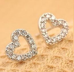 Wholesale earing for wholesale - Stud Earrings New Fashion Lovely Women Heart Crystal Ear Stud Earring Jewelry For Charming Lover Ear Ring diamante Earing eardrop Ear Acc