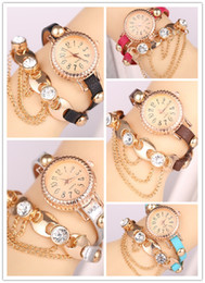 Wholesale Christmas Ornaments Sports - New Elegant Bohemia Rhinestone Chain Watches Faux Leather Strap Wristwatches Women's Bracelet Watch Dress Ornament watches 7 Colors