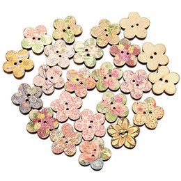 Wholesale Craft Wood Buttons Bulk - 100 Pcs Random Mixed 2 Holes Flower Wood Sewing Buttons Bulk Coin Scrapbooking Craft Button Wooden Painted Home Accessories
