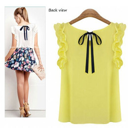 Wholesale Cheapest Blouses - Cheapest S-XXL New 2015 Women's O Neck Lotus Leaf Pullover Lace Bow Chiffon Shirt Tops Summer Women's Blouse Plus Size 5 Colors