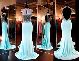 Wholesale Emerald Green Ribbon - Emerald Green Mermaid Lace Prom Dresses For Womens 2016 High Neck vestidos de festa Appliques Long Sexy Back Party Dresses Evening Wear