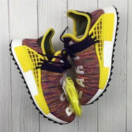 Wholesale Cotton Ink - Originals Pharrell Williams Human Race NMD Hu Trail Noble Ink Rainbow Sun Glow Running Shoes For Men Women Real Boost Top Quality 2018