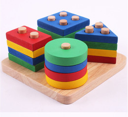 Wholesale Early Childhood - Montessori Geometric Intelligence Board Shape Sorter Stacker Matching Blocks Kids Children Preschool Early Childhood Toys