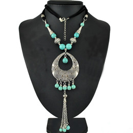 Wholesale Beaded Green Pendants Necklaces - Gypsy Fashion Women Jewelry Bohemian Vintage Silver Green Turquoise Beaded Long Tassel Necklaces & Pendants