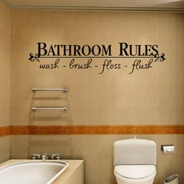 Wholesale Glass Tile Bathroom Designs - Bathroom Rules Waterproof Wall Decal Sticker Wash Brush Floss Flush Wall Quote Decoration Home Decal Decor for Bathroom