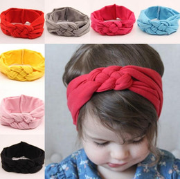 Wholesale Stretchy Headband Ribbon - 2015 Kids Girls Cotton Headwraps Infant Baby girl Stretchy hairbands babies twisted hair accessories