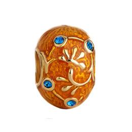 Cuentas faberge online-Pulsera de la joyería de las mujeres de la moda Faberge huevo esmaltado flor de la hoja de cristal cuentas europeas del espaciador de gran agujero encantos para las pulseras con cuentas