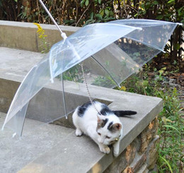 Wholesale Small Wholesale Umbrellas - 5 Pieces Lot Pet Supplies Transparent PE Pet Umbrellas Small Dog Cat Rain Umbrellas Gear with Leads Keeps Pet Dry Comfortable in Rain