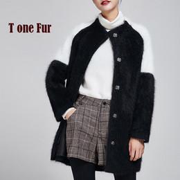 Wholesale Ladies Mink Fur Coats - Wholesale- 100% Pure Mink Cashmere Casual Cardigans Contrast Fashion Color Mink Cashmere Coat Lady Long Fur Sweater Luxury Jacket KFP983