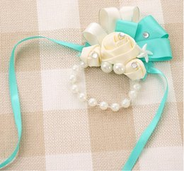 Wholesale Wrist Corsage Accessories - Four Colors Wrist Corsage Wedding Wrist Flowers Bridal Wrist Flowers Wedding Bride Accessories 2015 Style Flowers With Pearls Bridal Flower