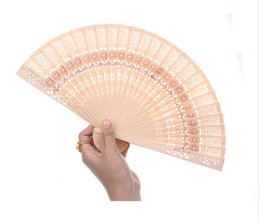 Wholesale Carved Wood Hands - Wedding Shower Favor Chinese Bridal Party Wood Wooden Folding Hand Summer Fan Brand New Good Quality Free Shipping