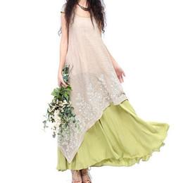 Wholesale Vintage Ethnic Dress - Vintage long green beige patchwork asymmetrical maxi one-piece dress for women summer bohemian boho original ethnic long dress