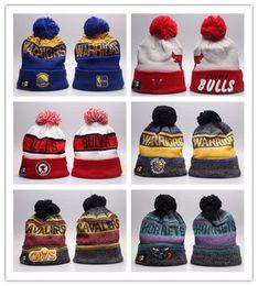 Wholesale Hockey Beanies - Newest Knitted Football Winter hats for men women Embroidery Bulls Beanies winter ALL Teams warm beanies gorro Basketball Bonnet Cap