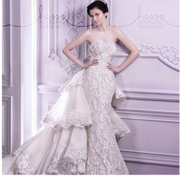 Wholesale Lace Mermaid Strapless Wedding Dresses - Custom Made Mermaid Lace Wedding Dresses With Attachable Train 2015 Sweetheart Strapless Chapel Train Bridal Gown Wedding Gown