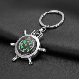 Wholesale Mini Compass Keychain - Fashion Accessories High rudder compass keychain compass Mini compass King ring pocket Outdoor Gadgets Hiking & Camping Outdoor Gear