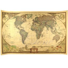 Wholesale Deco Paper Vintage - Wholesale-B76 Large Size Vintage Retro Paper World Map Poster Wall Chart Home Deco 72.5 x 47cm