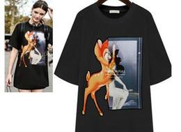 Wholesale Deer Giraffe - FG1509 2015 Wholesale New Brand Hip Hop T-shirt Women's Fashion Designer Giraffe Deer Short Sleeve T Shirt women Tops Tees Tshirt Women