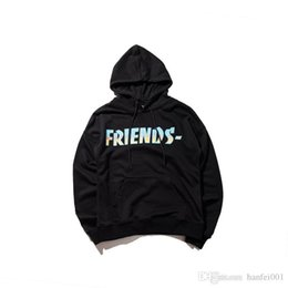 Wholesale Friends Hoodies - 17FW VLONE FRIENDS Hoodies Blue Flame Gradient Hooded Sweatshirts Large V Letter Printed Couple Top Quality Hoodies HFYTWY017